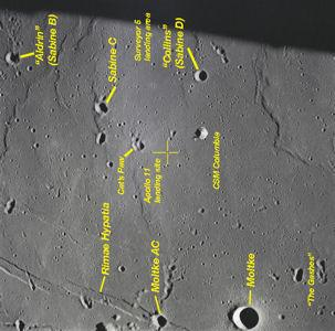 Lunar Map with Apollo 11 Landing Area